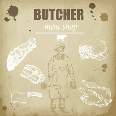 Meat butcher shop hand drawn sketch background vector vintage illustration. Old paper meat shop backdrop design with beef steak, ham, poultry, filet kebab and sausages.