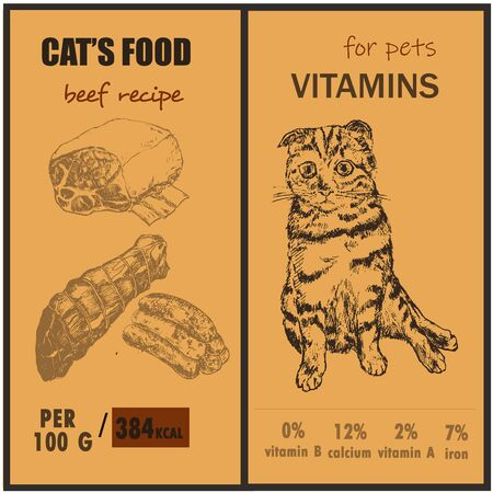 Packaging cats pets food and vitamins two banner set sketch vector illustration. Sketch hand drawn kitten, cat and nutrition facts for cats food.