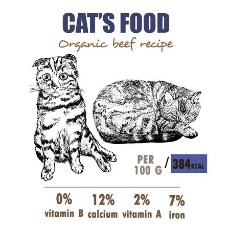 Сats pets food, label, banner, identity or branding sketch vector illustration. Sketch hand drawn kitten and cat and nutrition facts for cats food.