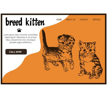 Web petshop for kittens hand drawn sketch vector illustration, cute fluffy cat website template. Ink pen cute fluffy cat, domestic pet shop webpage.