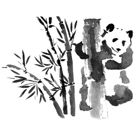 Panda ink pen hand drawn chinese drawing with bamboo vector illustration.