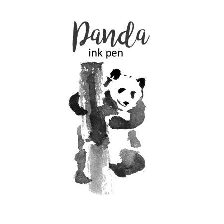 Panda ink pen hand drawn chinese drawing for logo vector illustration.
