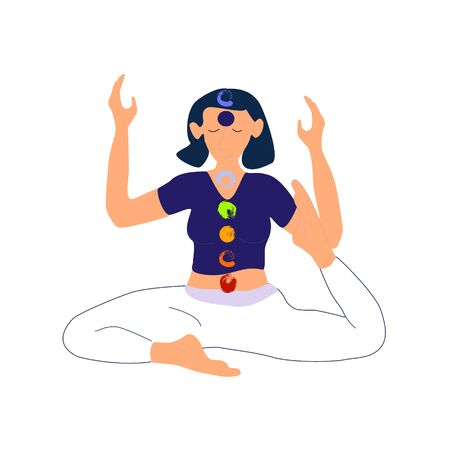 Yoga meditation and chakras young woman meditating in sitting asana position vector illustration.