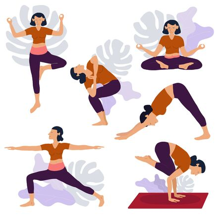 Yoga girl exersices and body health poses training set cartoon vector illustration.