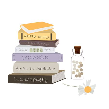 Homeopathy books and medicine, naturopathic health concept elements isolated on white vector illustration with homeopathic balls in bottle and homeopahical remedy books.