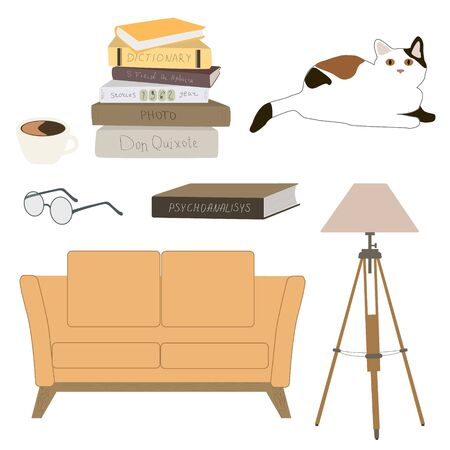 Psychologist office elements set with couch, books on psychotherapy, lamp and cat vector illustration isolated on white. Psychology counseling workplace. Illustration