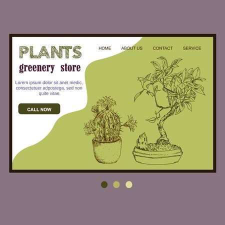 Green plants in pot sketch ink pen hand drawn template for web shop, vector illustration of bonsai tree and cactus for florists store online.