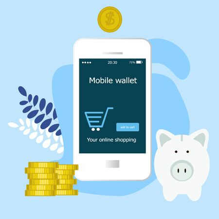 Mobile wallet with money savings, finance and banking and budget management, financial profit isolated vector illustration. Piggy bank with money currency, cash, coins and mobile wallet concept. Ilustracja