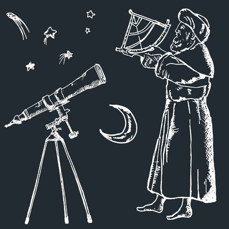 Astronomy sketch vector illustration of ancient astronom using sextant. Stars, moon and telescope, astronomical set of vintage engraving.