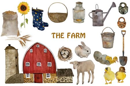 Farm watercolor elements set, farming and agriculture hand drawn illustration. Farm constructor. Barn building, harvest, farmer tools, animals.
