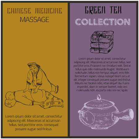 Chinese medicine banners, sketch ink pen vector illustration. Massage, medical plants in pot. Alternative medicine. Chinese pharmacy.
