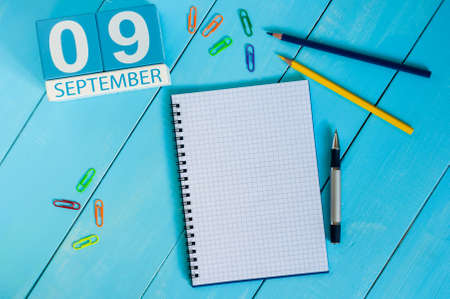 september 9th: September 9th. Image of september 9 wooden color calendar on white background. Autumn day. Empty space for text. International Beauty Day. Stock Photo