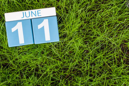 11th: June 11th. Image of june 11 wooden color calendar on greengrass lawn background. Summer day, empty space for text.
