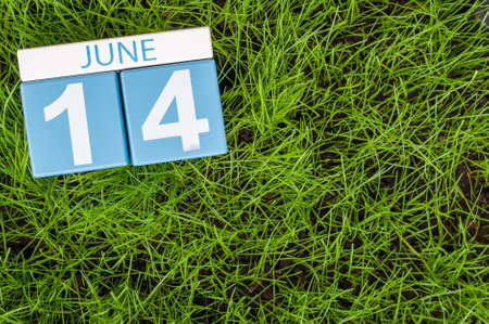 greengrass: June 14th. Image of june 14 wooden color calendar on greengrass lawn background. Summer day, empty space for text.