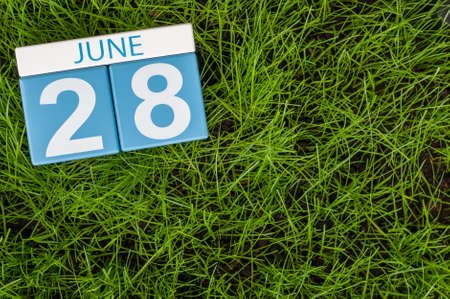 greengrass: June 28th. Image of june 28 wooden color calendar on greengrass lawn background. Summer day, empty space for text. Stock Photo