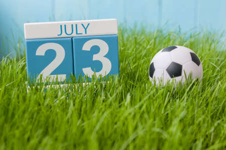 20 23 years: July 23rd. Image of july 23 wooden color calendar on greengrass lawn background. Summer day, empty space for text.
