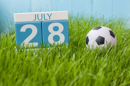 greengrass: July 28th. Image of july 28 wooden color calendar on greengrass lawn background. Summer day, empty space for text. Stock Photo