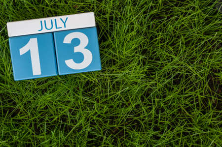 greengrass: July 13th. Image of july 13 wooden color calendar on greengrass lawn background. Summer day, empty space for text. Stock Photo