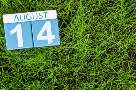 14th: August 14th. Image of august 14 wooden color calendar on green grass lawn background. Summer day. Empty space for text. Stock Photo