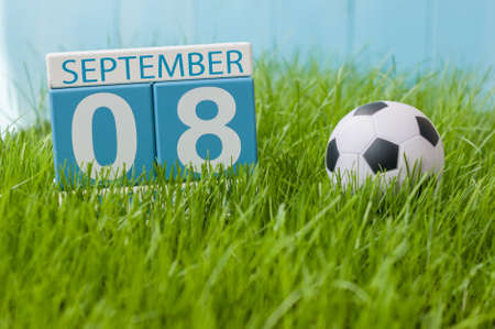September 8th. Image of september 8 wooden color calendar on green grass lawn background. Autumn day. Empty space for text. International Day Of Journalists Solidarity.
