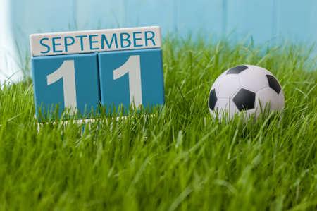 September 11th. Image of september 11 wooden color calendar on green grass lawn background.