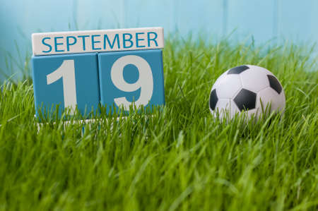 September 19th. Image of september 19 wooden color calendar on green grass lawn background.