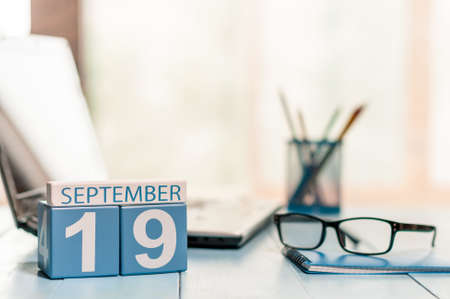 medical assistant: September 19th. Day 19 of month, calendar on Medical Assistant workplace background. Stock Photo