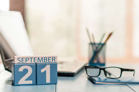 ceasefire: September 21st. Day 21 of month, calendar on Database Administrator workplace background.