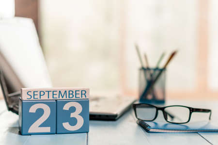 20 23 years: September 23rd. Day 23 of month, calendar on Customer Services Assistant workplace background. Stock Photo