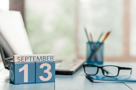 13th: September 13th. Day 13 of month, calendar on lawyer workplace background.