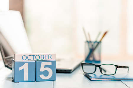 October 15th. Day 15 of month, calendar on Medical Assistant workplace background.