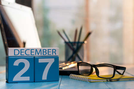 important date: December 27th. Day 27 of month, calendar on author workplace background.