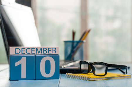 analyst: December 10th. Day 10 of month, calendar on analyst workplace background. Stock Photo
