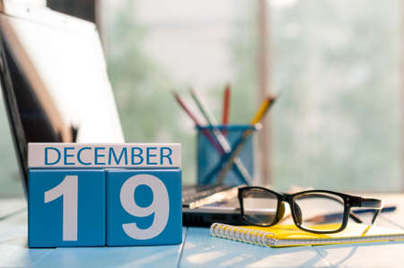 December 19th. Day 19 of month, calendar on auditor workplace background.