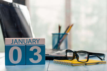 3 month: January 3rd. Day 3 of month, calendar on insurance agent workplace background.