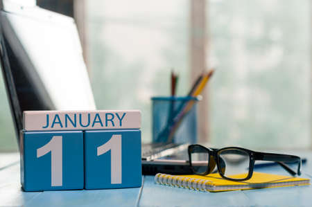 important date: January 11th. Day 11 of month, calendar on Software Engineer workplace background.
