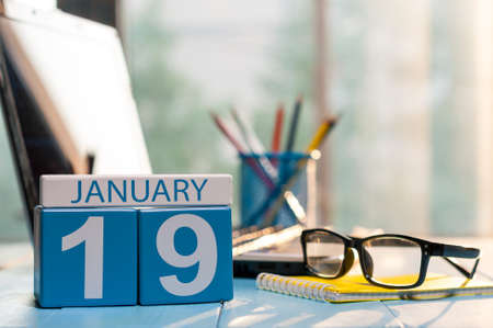 January 19th. Day 19 of month, calendar on auditor workplace background. Stock Photo