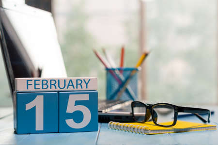 February 15th. Day 15 of month, calendar on Medical Assistant workplace background. Stock Photo