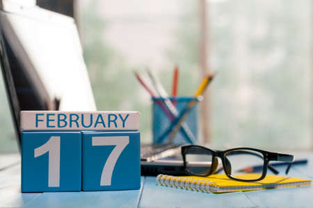 17th: February 17th. Day 17 of month, calendar on Customer Services Assistant workplace background.