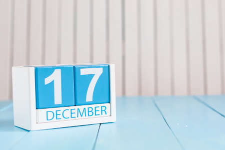 17th: December 17th. Day 17 of month, calendar on wooden background.