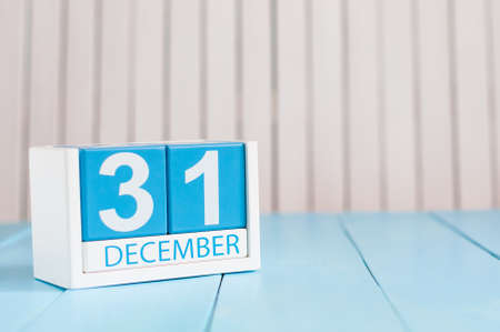 31st: December 31st. Day 31 of month, calendar on wooden background. Stock Photo