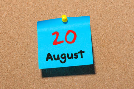 20th: August 20th. Day 20 of month, color sticker calendar on notice board. Summer time. Empty space for text.