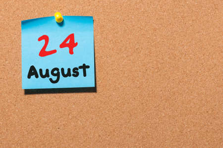 notice board: August 24th. Day 24 of month, color sticker calendar on notice board. Summer time. Empty space for text.