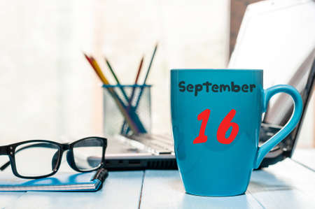 September 16th. Day 16 of month, calendar on banker workplace background. Autumn time. Empty space for text. Stock Photo