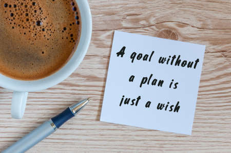 a goal without a plan is just a wish - motivational handwriting on a napkin with a cup of morning coffee. Standard-Bild