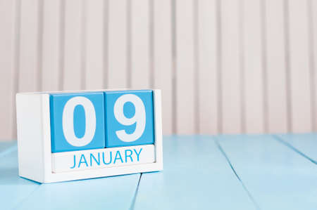 9th: January 9th. Day 9 of month, calendar on wooden background. Winter concept. Empty space for text. Stock Photo