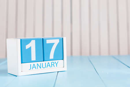 17th: January 17th. Day 17 of month, calendar on wooden background. Winter time. Empty space for text. Stock Photo