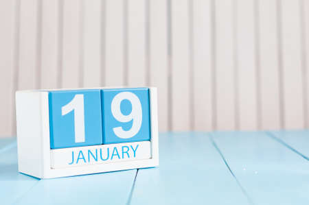 19: January 19th. Day 19 of month, calendar on wooden background. Winter time. Empty space for text. Stock Photo