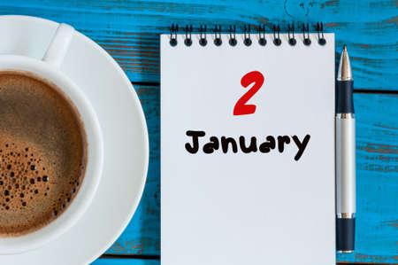 2. Januar. 2. Tag des Monats, Kalender auf Business-Büro Hintergrund. Winterzeit. Der leere Raum für Text. Standard-Bild - 64094944