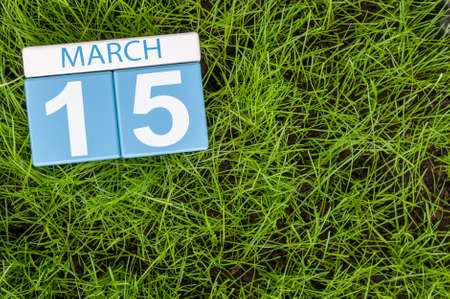 consumer rights: March 15th. Day 5 of month, calendar on football green grass background. Spring time, empty space for text. World Consumer Rights Days. Stock Photo